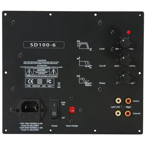 Yung SD100-6 100W Class D Subwoofer Amp Module with 6 dB at 45 Hz