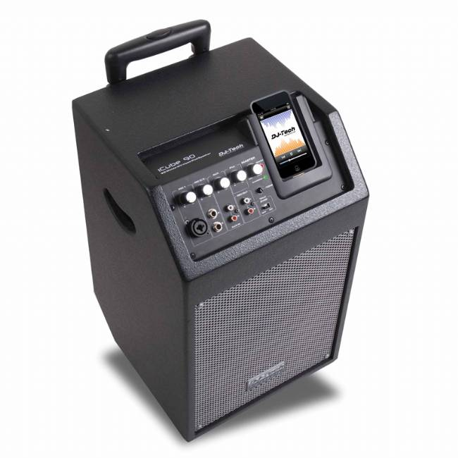 DJ Tech 80W Batt Powered PA System w/ 4ch Mixer +Talkover+iPod Docking